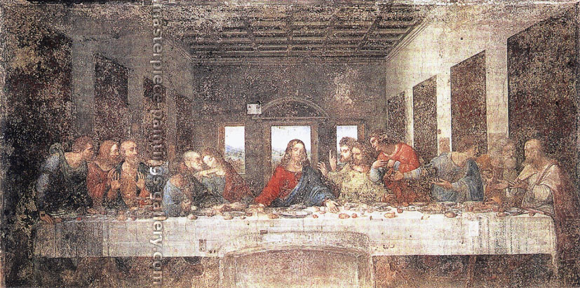 Leonardo da Vinci, The Last Supper, 1498, oil on canvas, 18 x 36 in. / 45.7 x 91.4 cm, US$480