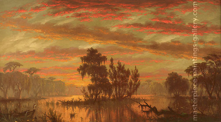 Joseph Rusling Meeker, Bayou Plaquemines, 1881, oil on canvas, 13.7 x 24 in. / 34.8 x 61 cm, US$265