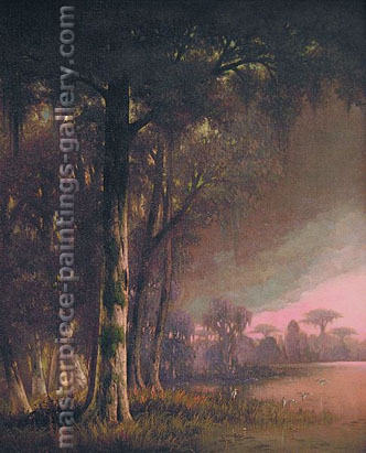 Joseph Rusling Meeker, Bayou Twilight, oil on canvas, 24 x 19.6 in. / 61 x 49.7 cm, US$275