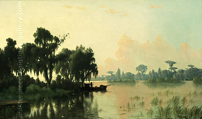 Joseph Rusling Meeker, Solitary Pirogue by the Bayou, 1886, oil on canvas, 14.2 x 24 in. / 36 x 61 cm, US$280