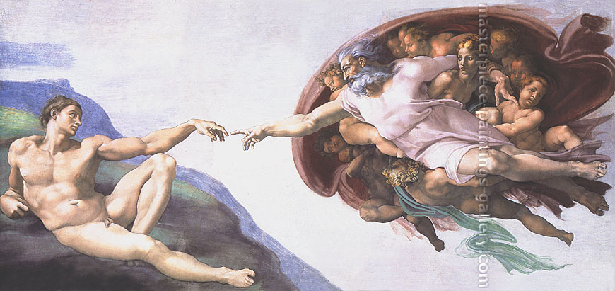 Michelangelo Buonarroti, Creation of Adam, 1510, oil on canvas, 36 x 80 in. / 91.4 x 203.4 cm, US$820