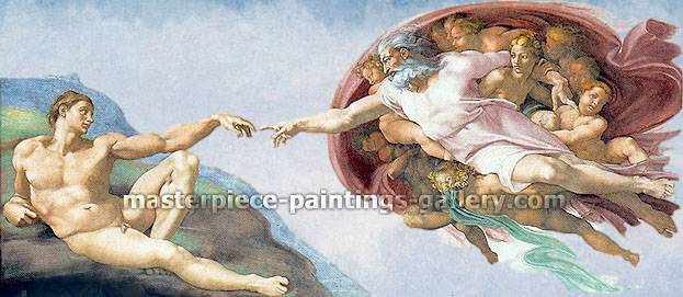 Michelangelo Buonarroti, Creation of Adam (restored plus realistic sky), 1510, oil on canvas, 67.2 x 144 in. / 164.4 x 365.9 cm, US$1,465