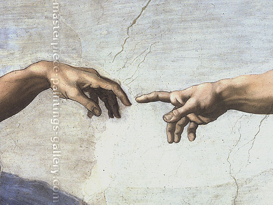 Michelangelo Buonarroti, Creation of Adam | Finger of God  (DETAIL 1, un-restored), 1510, oil on canvas, 32 x 24 in. / 81.3 x 61, US$250