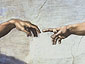 Michelangelo Buonarroti, Creation of Adam (DETAIL 1, un-restored), 1510, oil on canvas, 32 x 24 in. / 81.3 x 61, US$250
