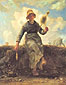 Jean Francois Millet, The Spinner | Goat Girl from the Auvergue, 1868, oil on canvas, 36.6 x 29 in. / 92.5 x 73.5 cm, US$350