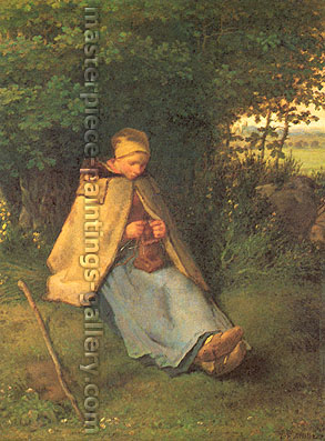 Jean Francois Millet, Woman Knitting, 1856, oil on canvas, 20 x 15.1 in. / 50.8 x 38.4 cm, US$300