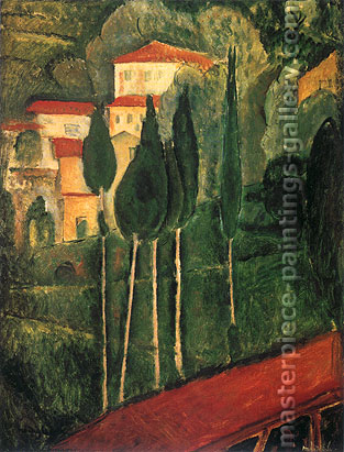 Amedeo Modigliani, Landscape with Trees, 1919, oil on canvas, 24 x 18.3 in. / 61 x 46.5 cm, US$320
