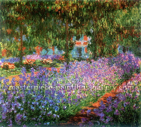 Claude Monet, Artist's Garden, Irises | Monet's Garden at Giverny | Bed of Irises in Monet's Garden | Le Jardin de Monet a Giverny | Le Jardin de Monet, les iris, 1900, (W 1624) oil on canvas, 31.9 x 36.2 in. / 81 x 92 cm, US$550