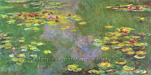 Claude Monet, Water Lilies, Giverny | Le Bassin aux Nympheas, Giverny 15, 1919, oil on canvas, 31.5 x 63 in. / 80 x 160 cm, US$640.