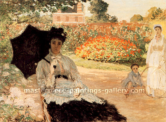 Claude Monet, Camille in the Garden with Jean and his Nurse | Camille au Jardin, avec Jean et sa Bonne, 1873, oil on canvas, 23.2 x 31.3 in. / 59 x 79.5 cm, US$450