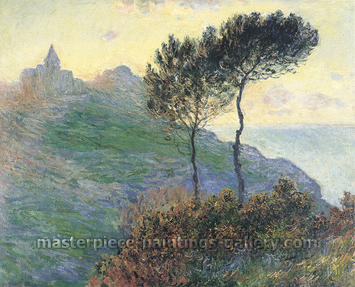 Claude Monet, Church at Varengeville | Cloudy Weather | Church on the Cliff, 1882, (W 727) oil on canvas, 25.6 x 32 in. / 65 x 81.3 cm, US$320