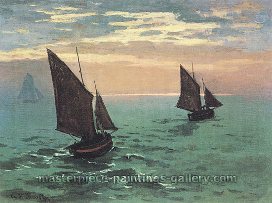 Claude Monet, Fishing Boats at Sea (W 126) | Bateaux de Pache en Mer, 1868, oil on canvas, 37.8 x 51.2 in. / 96 x 130 cm, US$720