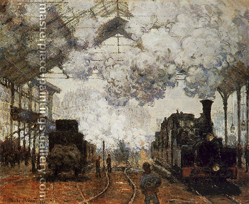 Claude Monet, Gare Saint-Lazare, Paris | La Gare Saint-Lazare | Arrivee d'un Train, 1877, oil on canvas, 32.3 x 39.8 in. / 82 x 101 cm, US$560