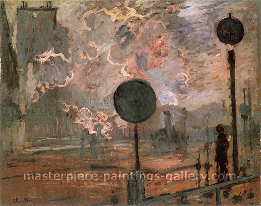 Claude Monet, La Gare Saint-Lazare, a l'Exterieure: La Signal | The Gare Saint-Lazare, The Signal, 1877, oil on canvas, 25.6 x 32.1 in. / 65 x 81.5 cm, US$450