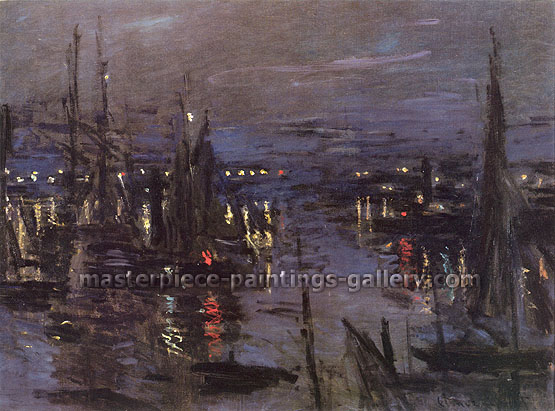 Claude Monet, Harbor at Le Havre at Night (W 264), 1872, oil on canvas, 23.6 x 31.9 in. / 60 x 81 cm, US$445