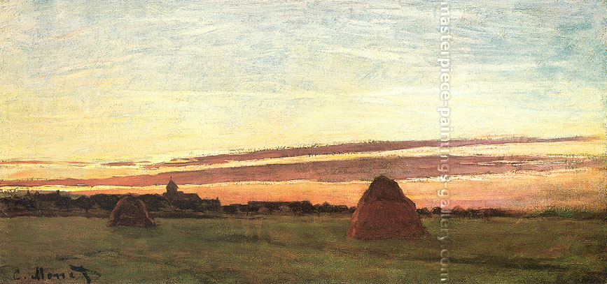 Claude Monet, Haystacks at Chailly at Sunrise (W 1989-55 bis), 1865, oil on canvas, 11.8 x 23.6 in. / 30 x 60 cm, US$360