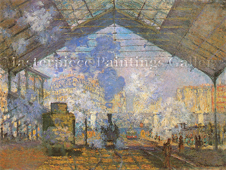 Claude Monet, Saint-Lazare Station | La Gare Saint-Lazare, 1877 (W 438 | RF 2775), oil on canvas, 29.5 x 39.4 in. / 75 x 104 cm, US$600