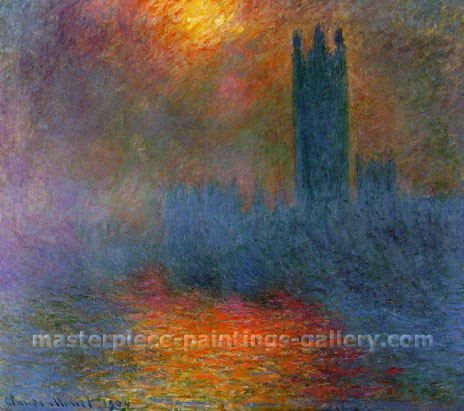 Claude Monet, London Parliament in Breaking Fog | Le Parlament, trouiee de soleil dans le brouillard , 1899, (W 1610) oil on canvas, 33.5 x 38 in / 85 x 96.5 cm, US$330
