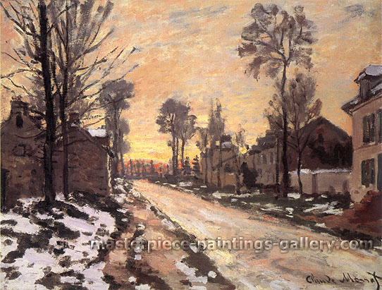 Claude Monet, Road to Louveciennes, Melting Snow, Sunset | Route a Louveciennes, Neige Fondante, Soleil Couchant, 1870, oil on canvas, 23.6 x 31.9 in. / 60 x 81 cm, US$445