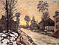 Claude Monet, Road to Louveciennes, Melting Snow, Sunset | Route a Louveciennes, Neige Fondante, Soleil Couchant, 1870, oil on canvas, 23.6 x 31.9 in. / 60 x 81 cm, US$260