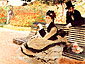 Claude Monet, Madame Monet on a Garden Bench | Le Banc, 1873, oil on canvas, 23.6 x 31.5 in. / 60 x 80 cm, US$300
