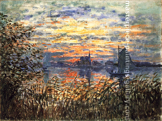 Clause Monet, Marine View-Sunset | Coucher de Soleil sur la Seine, 1874, oil on canvas, 19.5 x 25.6 in. / 49.5 x 65 cm, US$360