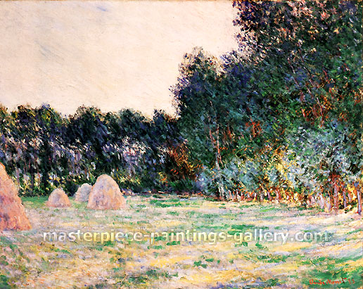 Claude Monet, Meadow with Haystacks near Giverny, 1885, oil on canvas, 29.1 x 36.8 in. / 74 x 93.5 cm, US$515