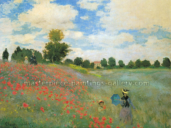 Claude Monet, Poppy Field at Argenteuil | Poppies at Argenteuil | Wild Poppies | Les Coquelicots a Argenteuil, 1873 (W 274) oil on canvas, 24.6 x 32 in. / 62.5 x 81.3 cm, US$450