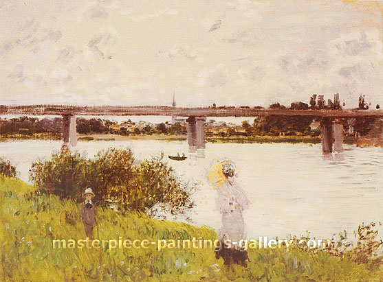Claude Monet, Railway Bridge at Argenteuil, 1874, oil on canvas, 21.4 x 28.5 in. / 54.3 x 72.4 cm, US$400