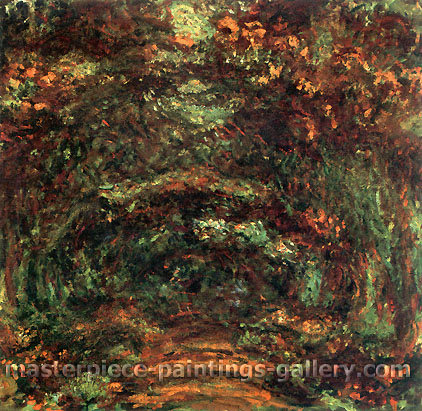Claude Monet, Avenue of Rose Trees, Giverny | L'Allee de rosiers, Giverny,1920-22, oil on canvas, 35 x 39.4 in. / 89 x 100 cm, US$600