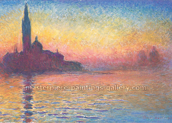 Claude Monet, San Giorgio Maggiore by Twilight | Saint-Georges Majeur au Crepuscule (W 1768) 1908, oil on canvas, 25.6 x 36.3 in. / 65 x 92 cm, US$550