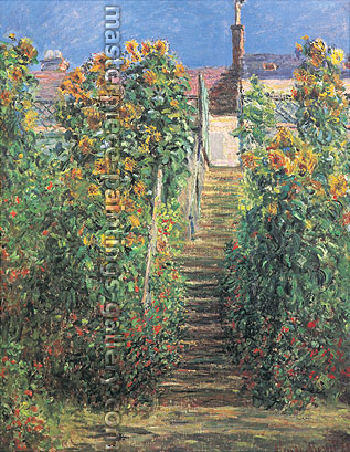 Claude Monet, The Artist's Garden at Vetheuil | The Steps at Vetheuil | L'Escalier a Vetheuil (W 682), 1881, oil on canvas, 31.5 x 25.6 in. / 80 x 65 cm, US$460