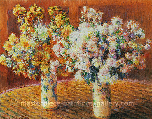 Claude Monet, Two Vases of Chrysanthemums | Deux Vases de Chrysanthemums, 1888, oil on canvas, 28.7 x 36.2 in. / 73 x 92 cm, US$510