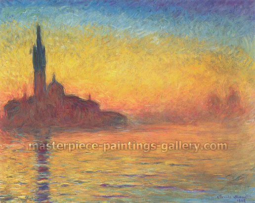 Claude Monet, Venice at Dusk | Evening in Venice | Church of San Giorgio Maggiore by Twilight | Crepuscule a Venise | Twilight, Venice (W 1769), 1908, oil on canvas, 28.7 x 36.2 in. / 73 x 92 cm, US$330