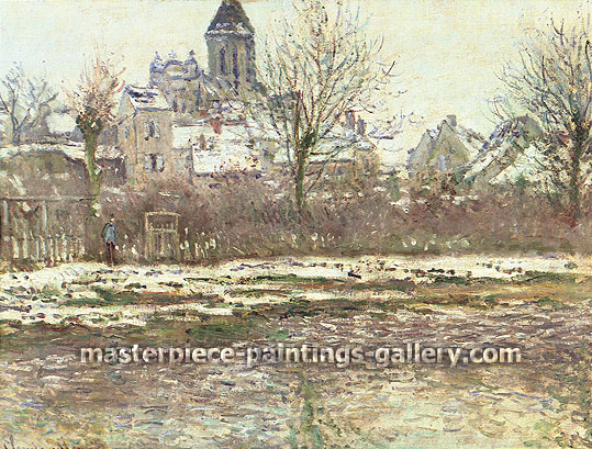 Claude Monet, Vetheuil Church, Snow, 1879 (W 506) oil on canvas, 20.9 x 28 in. / 53 x 71 cm, US$390
