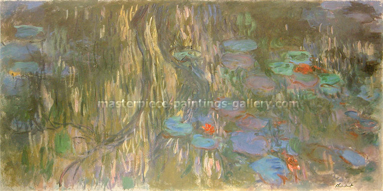 Claude Monet, Water-Lilies: Willow Reflections, 1917-19, oil on canvas, 29.5 x 59.1 in. / 75 x 150 cm, US$540