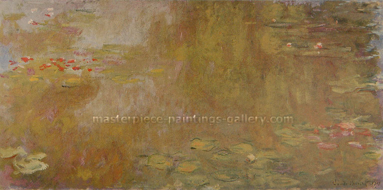 Claude Monet, Water Lily Pond, 1918, oil on canvas, 29.5 x 59.1 in. / 75 x 150 cm, US$540