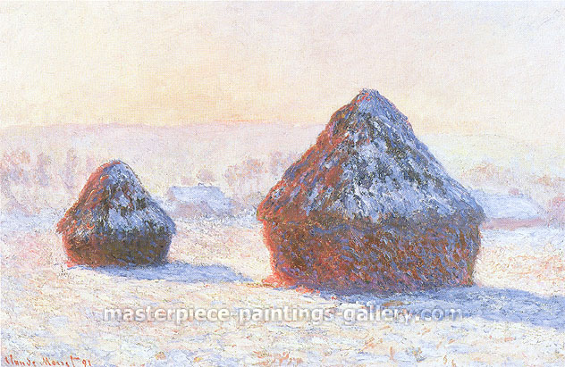 Claude Monet, Wheatstacks, Effects of Snow, Morning (W 1276), 1891, oil on canvas, 25.6 x 39.4 in. / 65 x 100 cm, US$475