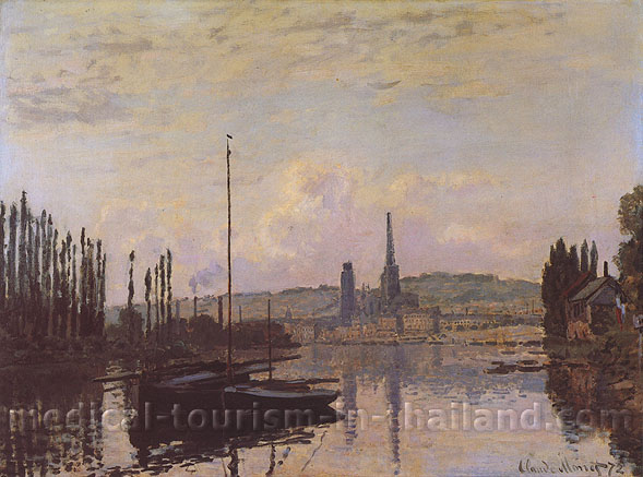 Claude Monet, View of Rouen | Vue de Rouen,1872, oil on canvas, 21.3 x 29.5 in. / 54 x 75 cm, US$300