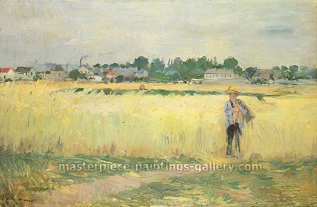 Berthe Morisot, In the Wheatfields at Gennevilliers, 1875, oil on canvas, 18.3 x 27.3 in. / 46.4 x 69.2 cm, US$289