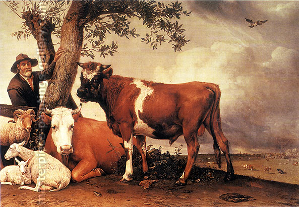 Paulus Potter, The Bull, 1647, oil on canvas, 22.3 x 32 in. / 56.6 x 81.3 cm, US$290