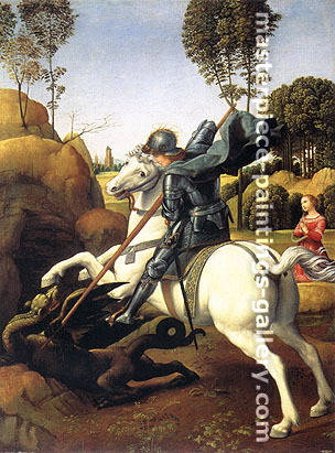 Raphael | Raffaello Sanzio, Saint George and the Dragon, 1506, oil on canvas, 32 x 23.3 in. / 81.3 x 59.2 cm, US$450