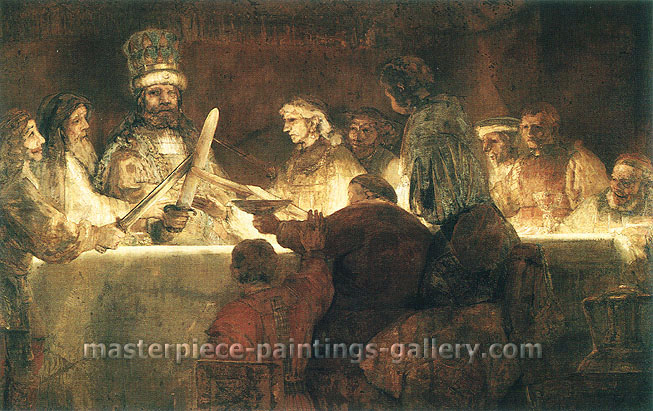 Rembrandt van Rijn, The Conspiracy of Claudius (or Julius) Civilis, 1661-62, oil on canvas, 46.3 x 73 in. / 117.6 x 185.4 cm, US$700