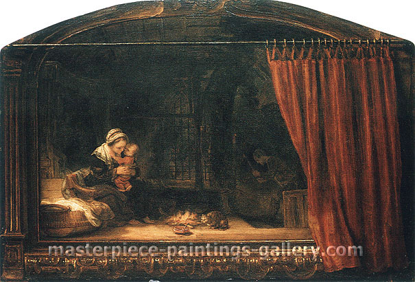 Rembrandt van Rijn, The Holy Family with  Painted frame and curtain, 1646, oil on canvas, 18.3 x 27.1 in. / 46.5 x 68.8 cm, US$350