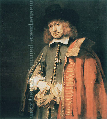 Rembrandt van Rijn, Jan Six, 1654, oil on canvas, 44.1 x 40.2 in. / 112 x 102 cm, US$430