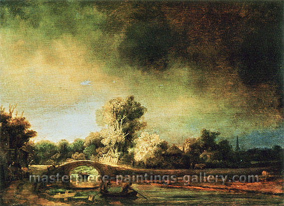 Rembrandt van Rijn, Landscape with a Bridge, 1630, oil on canvas, 29 x 41.8 in. / 73.8 x 106.3 cm, US$410