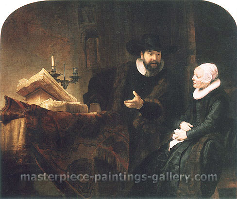 Rembrandt van Rijn, The Mennonite Minister Cornelis Claesz. Anslo in Conversation with his Wife, 1641, oil on canvas, 55.4 x 66.1 in. / 140.8 x 168 cm, US$670