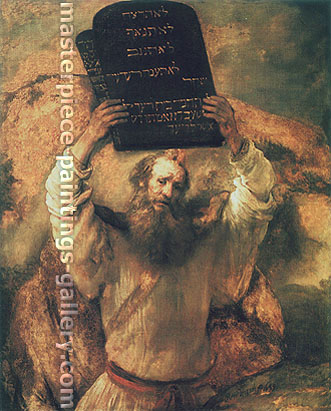 Rembrandt van Rijn, Moses with the Tables of the Law, 1659, oil on canvas, 66.3 x 53.7 in. / 168.5 x 136.5 cm, US$650