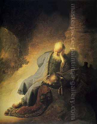 Rembrandt van Rijn, The Prophet Jeremiah Mourning over the Destruction of Jerusalem, 1630, oil on canvas, 32 x 25.6 in / 81.3 x 65 cm, US$320