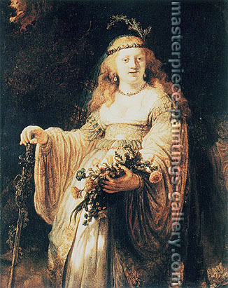 Rembrandt van Rijn, Saskia as Flora 35, 1635, oil on canvas, 48.4 x 38.2 in. / 123 x 97 cm, US$470